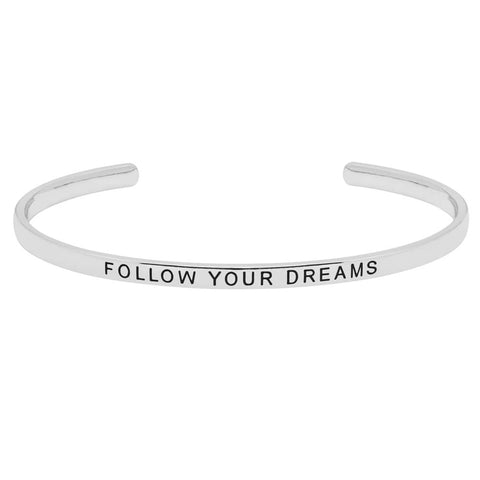 Silver Plated Follow Your Dreams Open Bangle