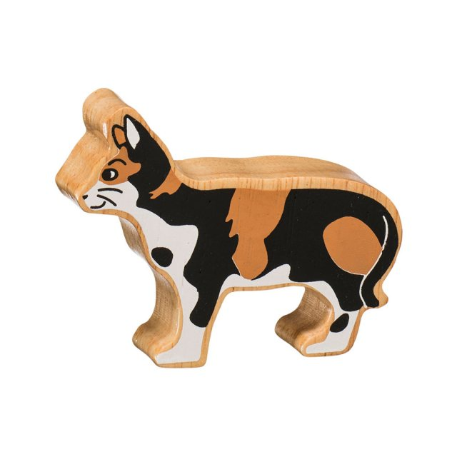 Lanka Kade Wooden Toy Fair trade - Natural Tabby Cat