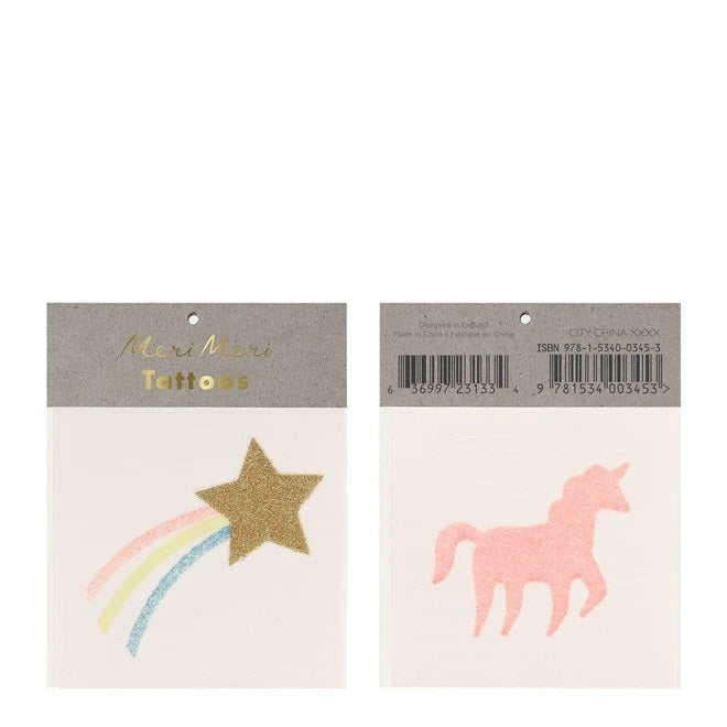 Star & Pink Unicorn Tattoos
