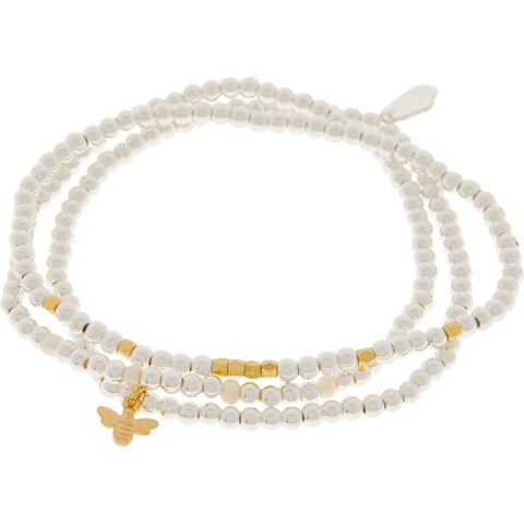 Bee Trio Bracelet Set - Gold & Silver Plated