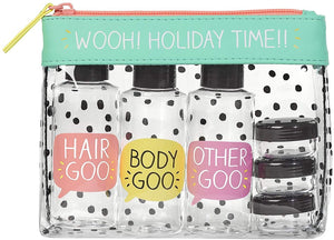 'Wooh Holiday Time' Travel Wash Bag | Includes Travel Bottles