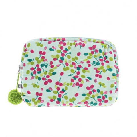 Velour Zipped Pom Pom Pale Green Mini Ipad/Make Up Case