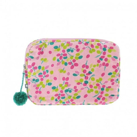 Velour Zipped Pom Pom Pink Mini Ipad Case/Make Up Bag.
