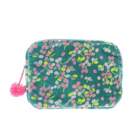 Velour Zipped Pom Pom Deep Green Mini Ipad/Make Up Case