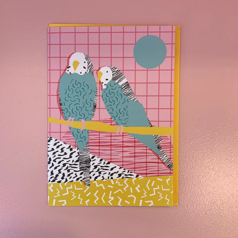 2 Budgies On Perch Card