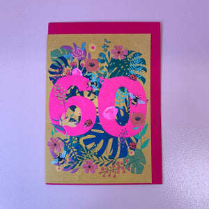 60 Neon Birthday Card