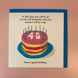 In 365 Days You Will Be...40th Card