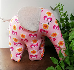 Hand-Made Soft Toy Elephant Pink Flower