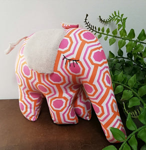 Hand-Made Soft Toy Elephant Pink/Orange