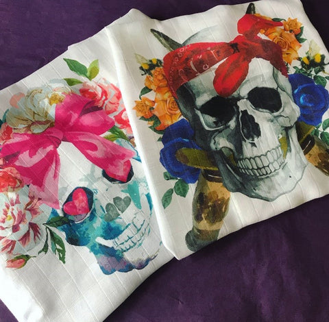 Skull Print Muslin - Choose Boy or Girl
