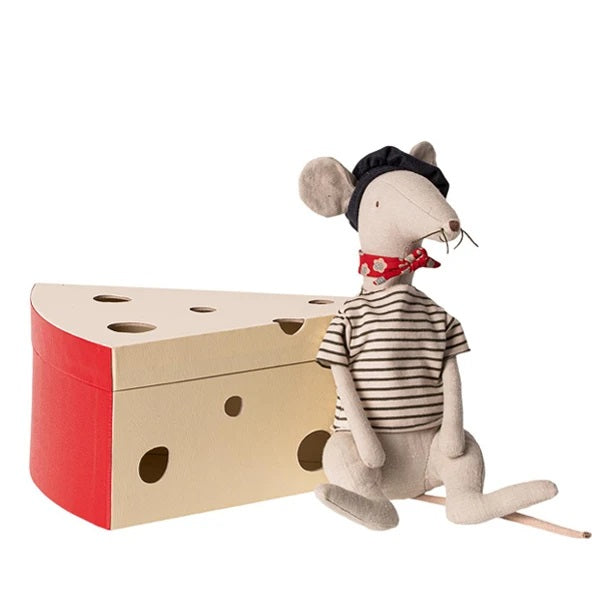 Maileg Rat In Cheese Box - Light Grey Blue Striped
