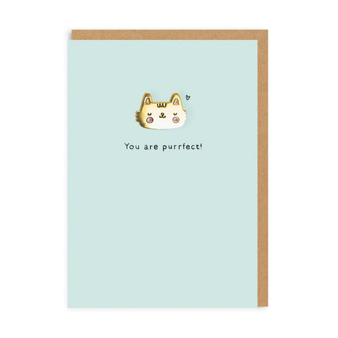 You Are Purrfect Cat Enamel Pin Badge Card