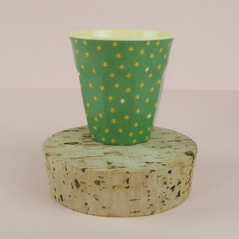 Rice Melamine Kids Cup Green/Yellow Stars