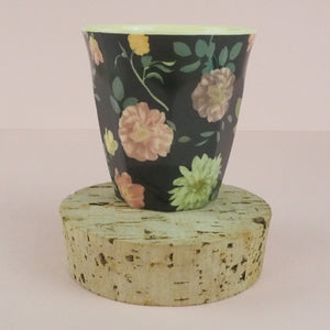 Rice Melamine Cup Grey Floral