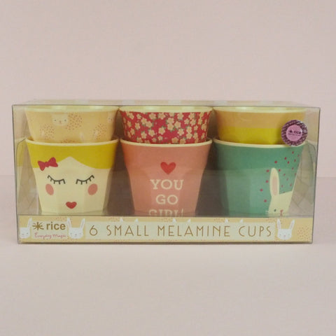 Set Of 6 Rice Kids Melamine Cups, Small 7cm: You Go Girl