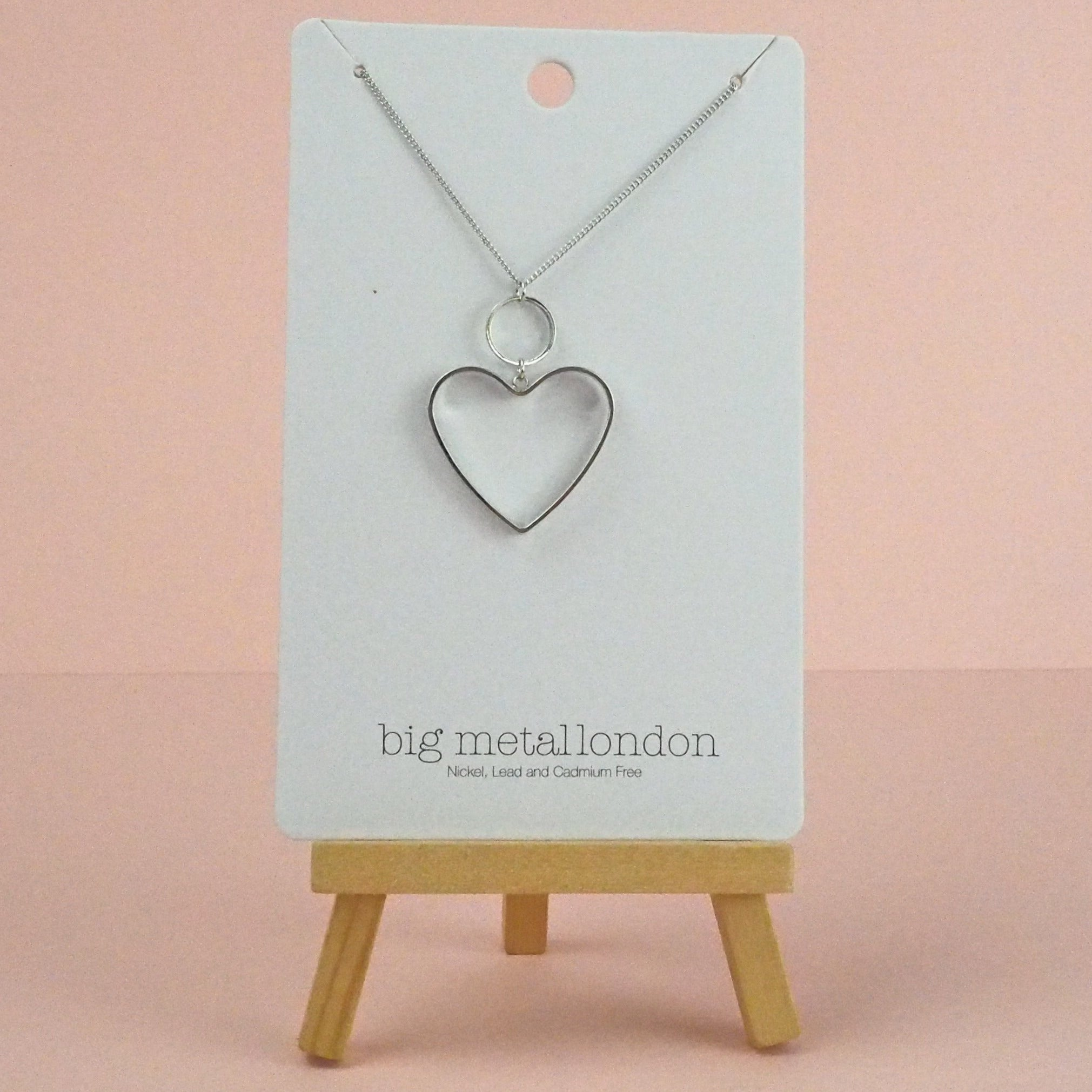 Silver Colour Hollow Heart Necklace