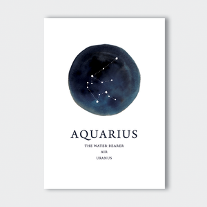Aquarius  Zodiac Art Print A4 or A3 Size