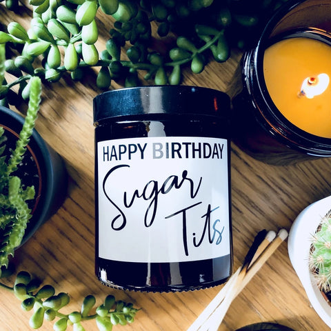 Happy Birthday Sugar Tits Blueberry/Vanilla Scented Soy Candle
