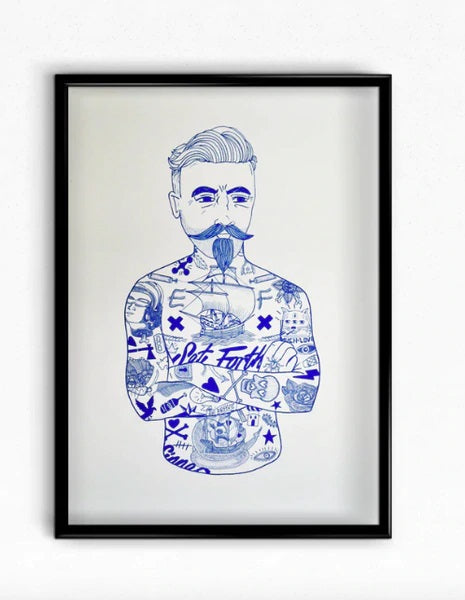 El Famoso Blue Tattoo Man Art Print