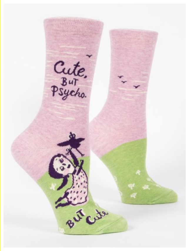 Cute. But Psycho. Crew Socks Cotton Women's Socks