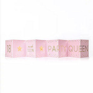 Party Queen 18th Birthday Mini Pink Concertina Card