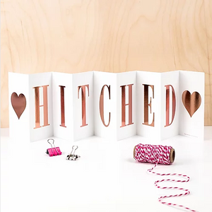 Wedding 'Hitched' Foil Concertina Card