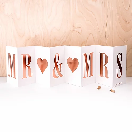 Wedding 'MR AND MRS' Foil Concertina Card