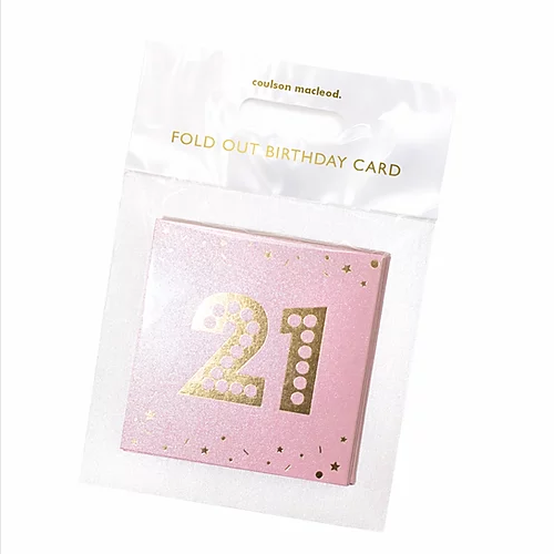 Fun 21st Birthday Pink Shimmer Mini Concertina Card