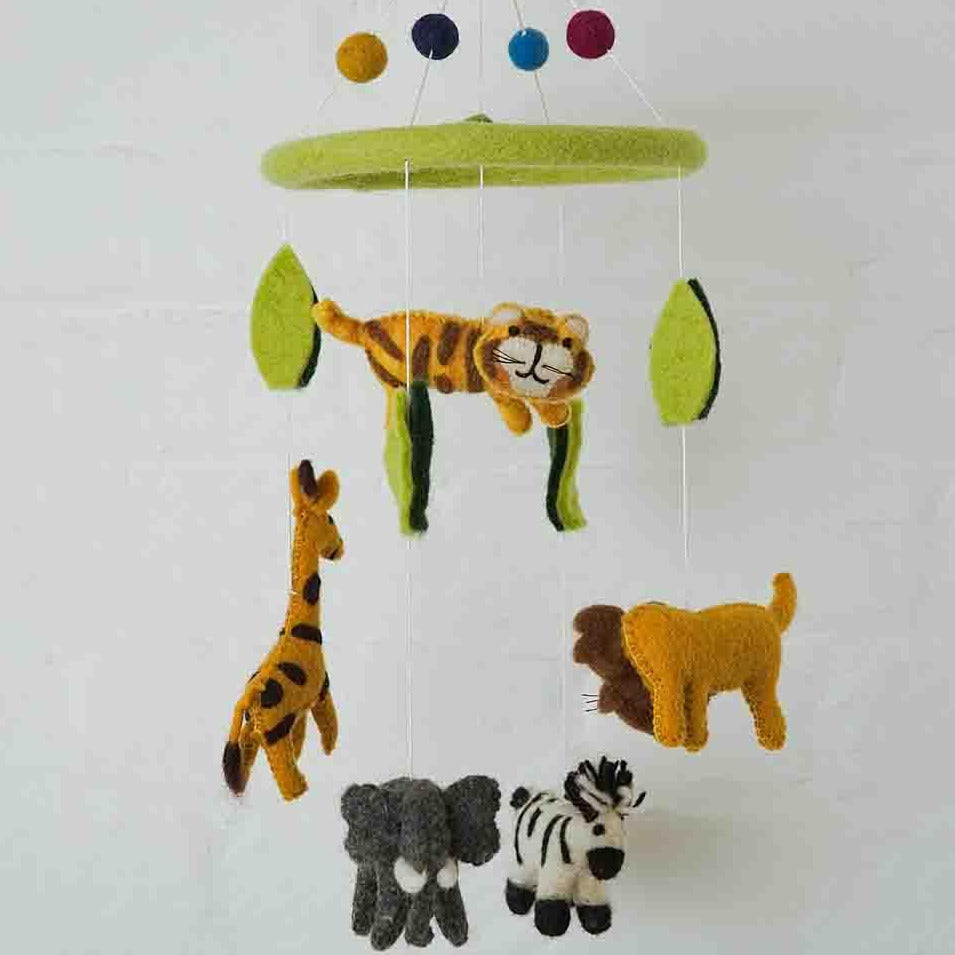 Hand Made Felt Zoo Animals Mobile
