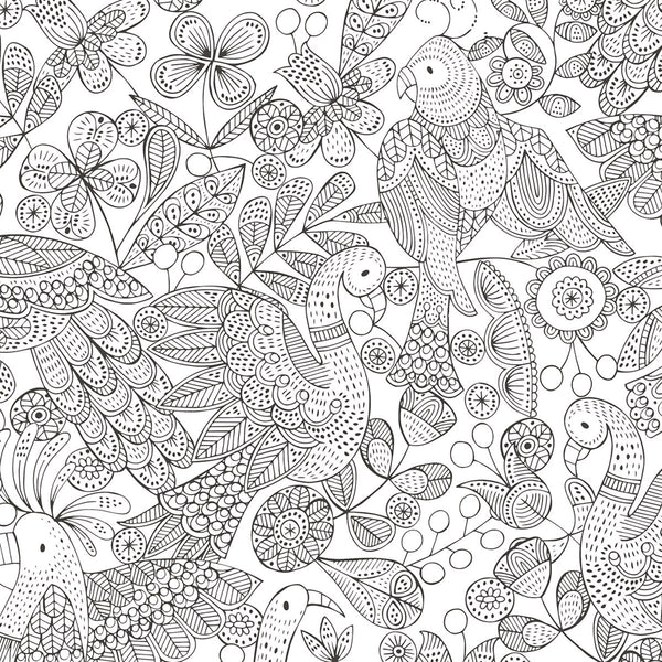 Colouring In Birds Wrapping Paper