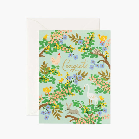 Congrats Animal/Floral Print Card