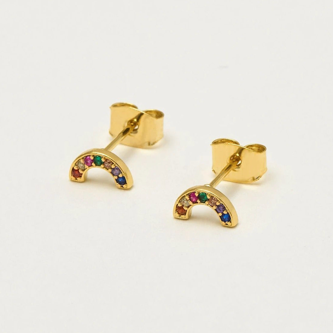 Rainbow Cubic Circona Earrings, Gold Plated