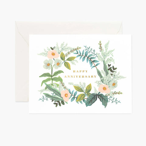 Happy Anniversary Floral Print Card