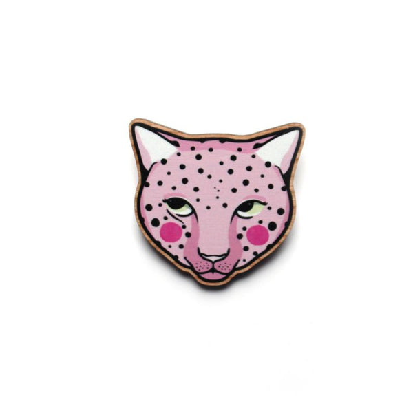 Pink Leopard Wood Broach