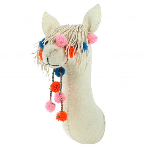 Felt Llama Head With Bridle Wall Decoration