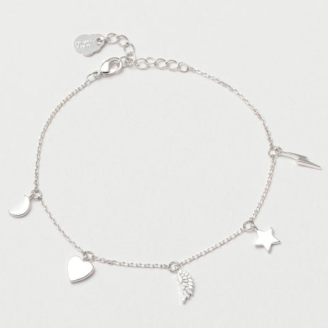 Multi Charm Silver Plated Bracelet