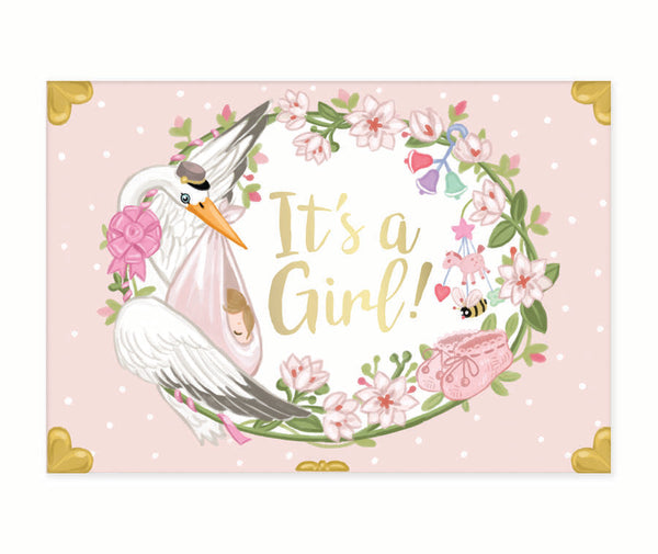 It's A Girl Music Box Card