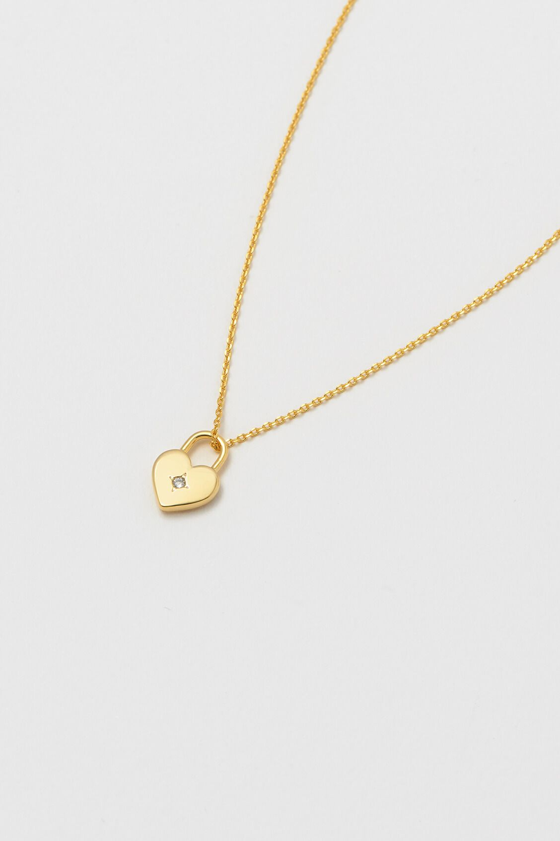 Gold Plated Heart Padlock Necklace