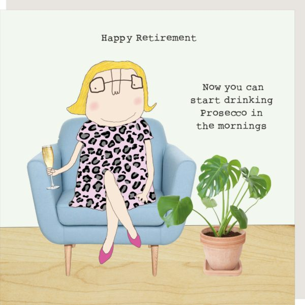 Happy Retirement Drinking Prosecco Card