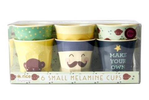 Set Of 6 Rice Kids Melamine Cups, Small 7cm: Assorted Monkey Prints