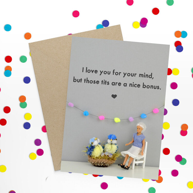 I love you tits - Bold and Bright Card