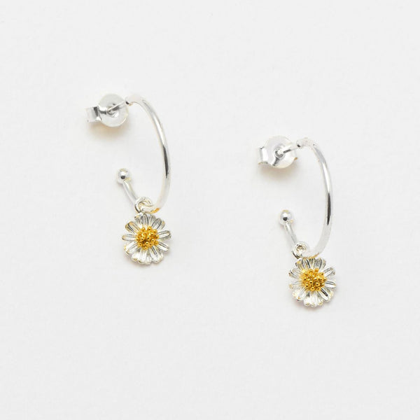 Wildflower Drop Hoop Silver Plated Earrings