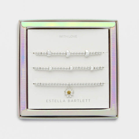Wildflower Silver Plated Bracelet Trio Gift Set