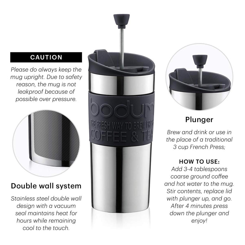 Bodum Travel Press Stainless Steel at The Coffee Collective NZ