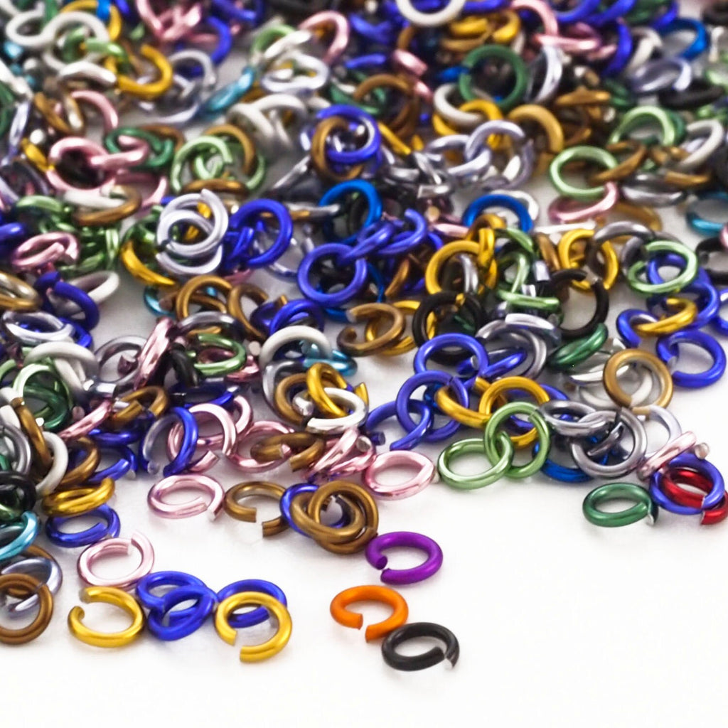 100 - 20 gauge Color Mix Anodized Aluminum Jump Rings - 2.5mm ID - 4.1mm OD