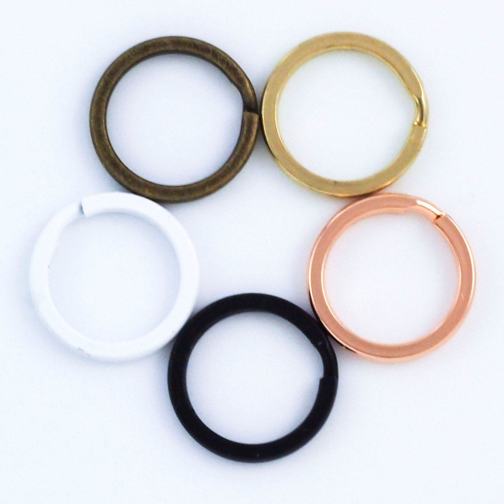 25 Premium 15mm Split Rings - Black, White, Gold Color and Antique Gold