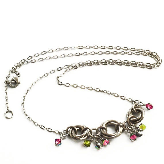 Alexis Titanium, Stainless Steel and Swarovski Crystal Necklace or Kit