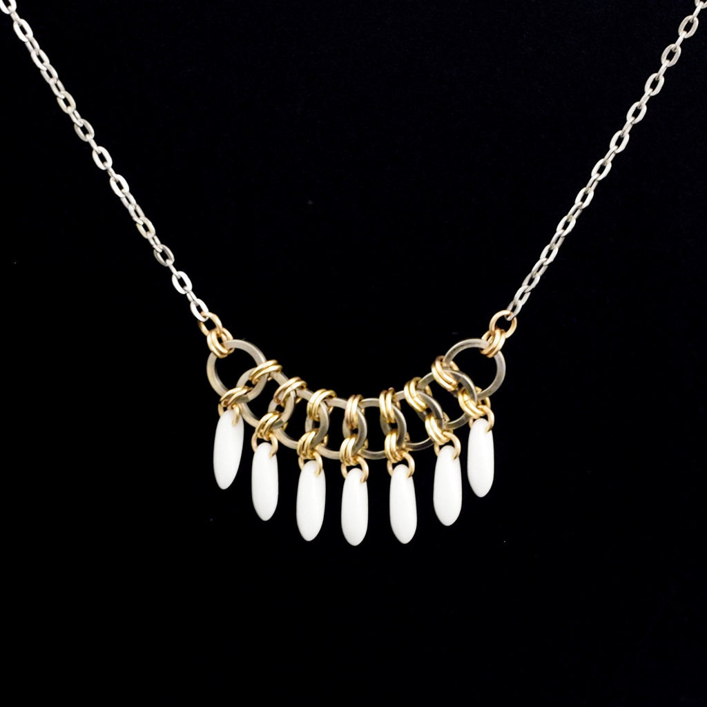 Opaque White Fringe Madison Necklace in Stainless Steel and 14kt Gold Filled