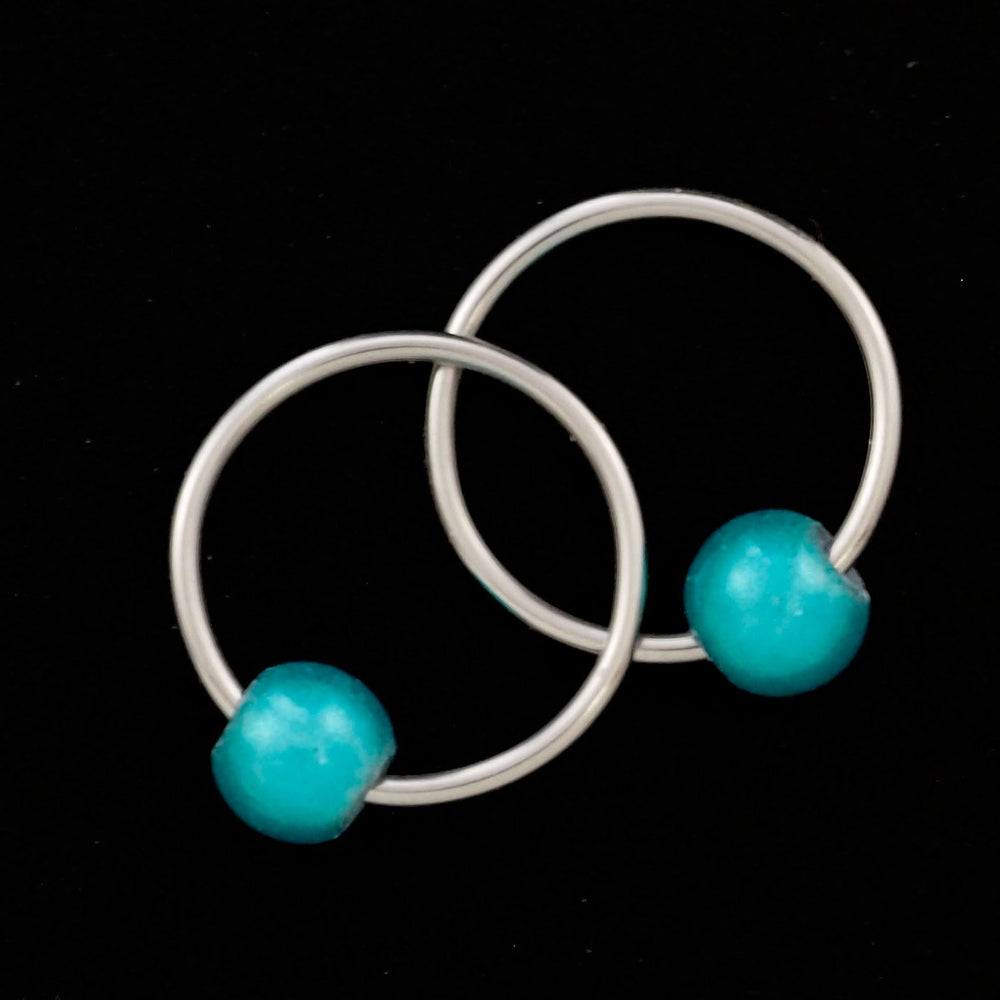 10mm Captive Bead Earring Hoops with Teal or Plum Bead