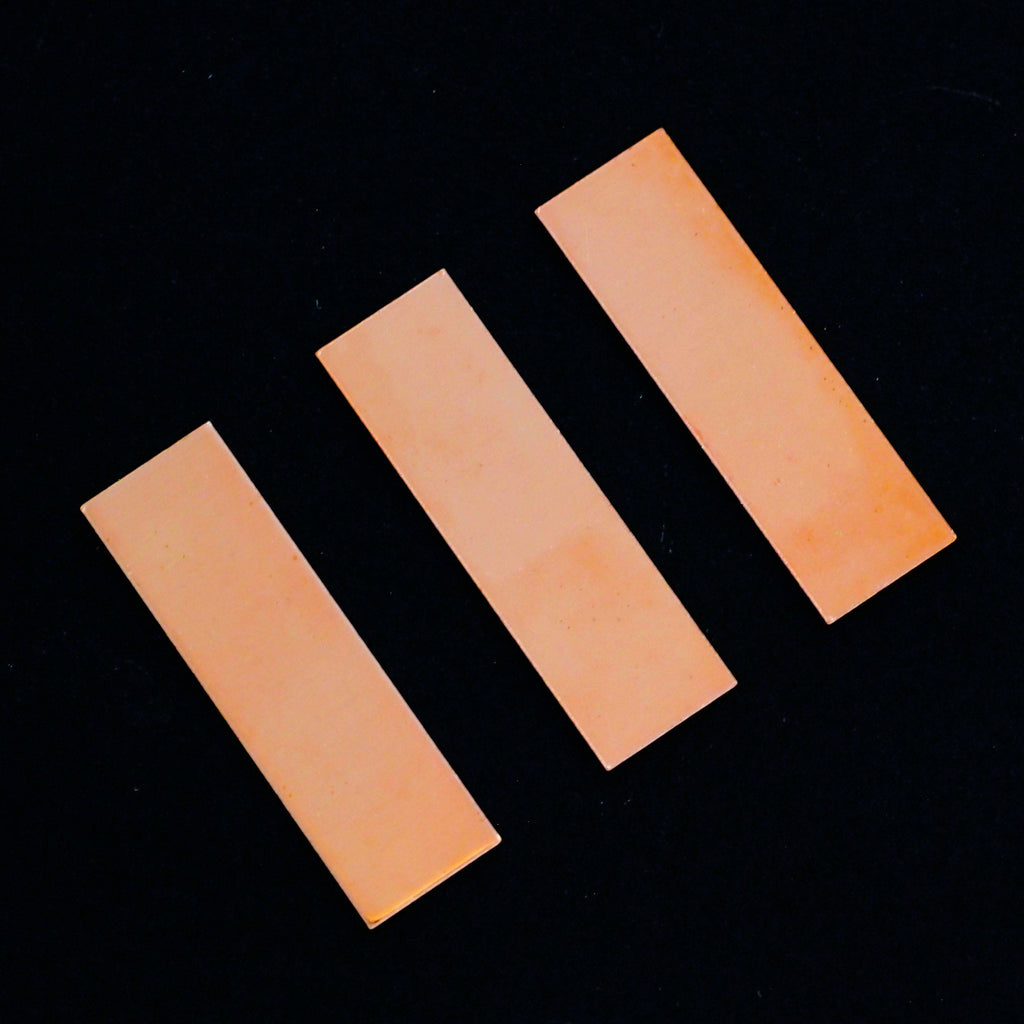 3 Copper Rectangle Stamping Blanks, Discs - Filed and Polished - 3 Sizes to Choose From